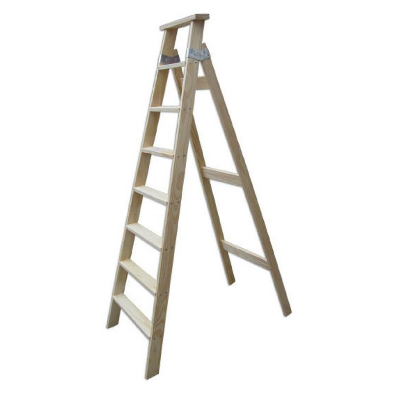 Escalera pintor de madera 7 pelda os tipo tijera mts ramponi - Escalera de pintor de madera ...