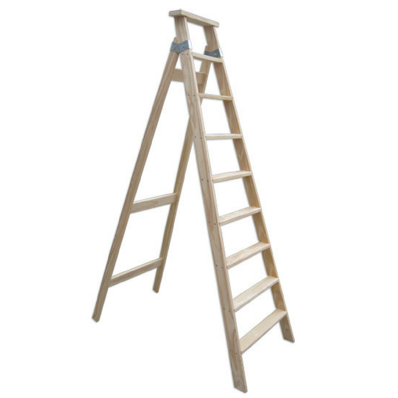 Escalera pintor de madera 9 pelda os tipo tijera mts ramponi - Escalera de pintor de madera ...