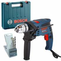 Taladro Percutor Bosch GSB13RE 13mm 600w Con Maletin + Kit 5 Mechas