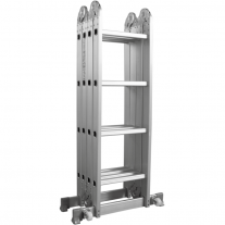 Escalera Multiproposito Lusqtoff Aluminio Con Ruedas 4x4 - 16 Escalones