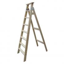 Escalera Pintor De Madera 7 Peldaños Tipo Tijera 1.85 mts Ramponi