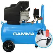 Compresor Gamma Monofasico 50 Lts 2.5Hp + Kit De Accesorios