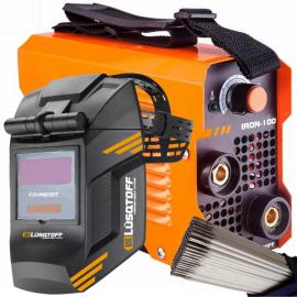 Soldadora Inverter Iron 100 Lusqtoff 80 amp + Máscara Fotosensible Luqstoff St-1x + 1kg de electrodos
