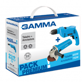 Taladro Percutor 10mm 650w + Amoladora 115mm 710w Gamma