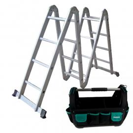 Escalera articulada multipropósito + Bolso porta herramientas Makita