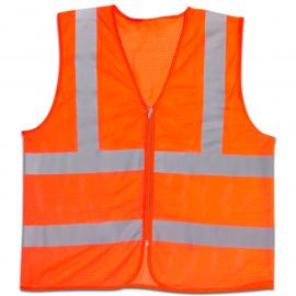 Chaleco De Seguridad Naranja Fluo Con Bandas Reflectivas
