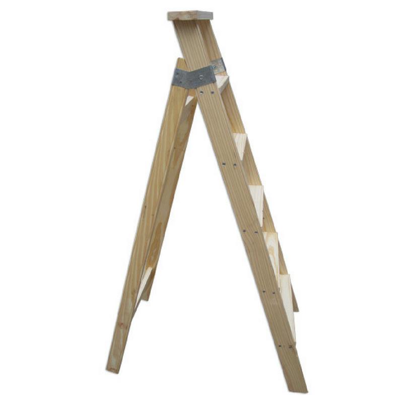 Escalera pintor de madera 6 pelda os tipo tijera mts ramponi - Escalera de madera pintor ...