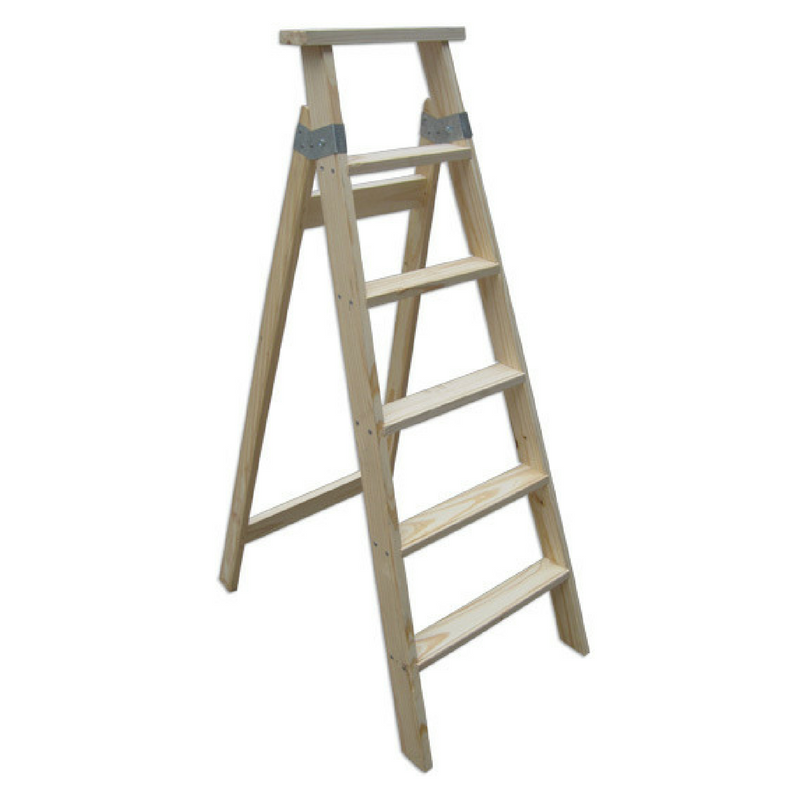 Escalera pintor de madera 6 pelda os tipo tijera mts for Escalera pintor